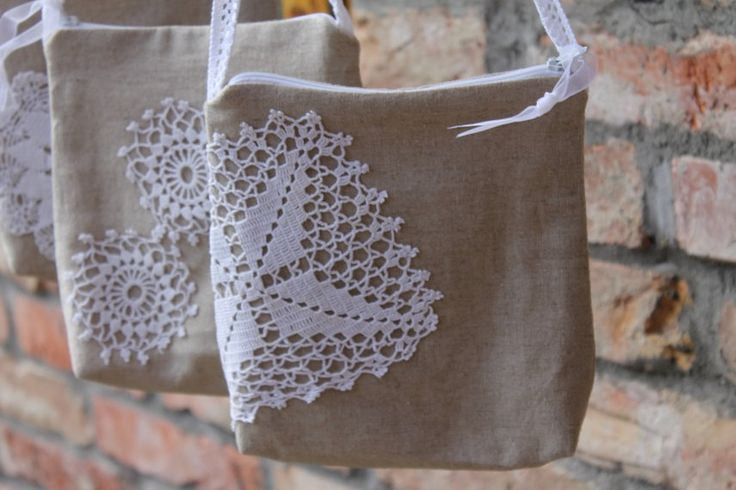 Bridesmaid purse vintage crochet linen mini bagburlap pouchpurse Wedding accessories