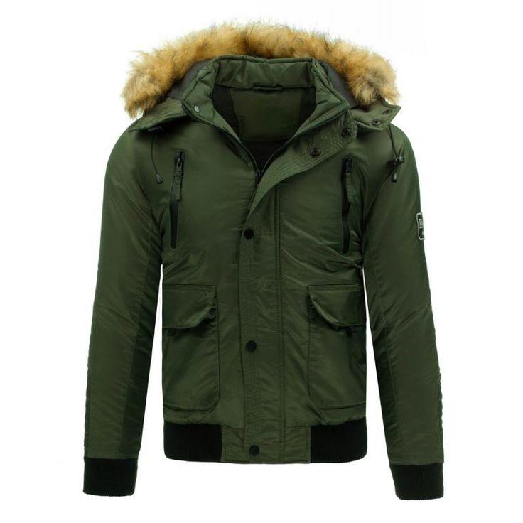 Pánská stylová zimní bunda zelená
