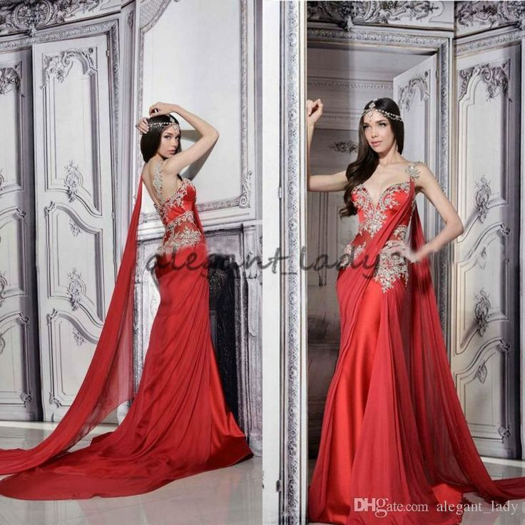 Gorgeous Indian Dresses Long Formal Red Evening Gowns Sheer Straps Court Train Ruched Chiffon Lace Appliques Prom Dress with Ribbon Overskirt Evening Dress Yousef Aljasmi Occasion Prom Dress Online with $148.58/Piece on Alegant_lady's Store | DHgate.com