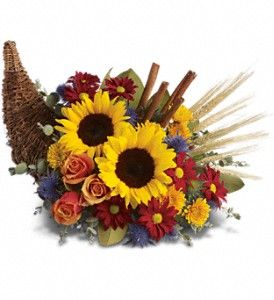 Along with joy, this cornucopia carries an abundance of beautiful #FallFlowers and foliage.