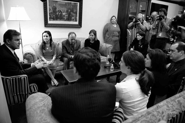 Sen. Joe Manchin meets with the families of the victims of the Sandy Hook shooting on April 10, 2013.