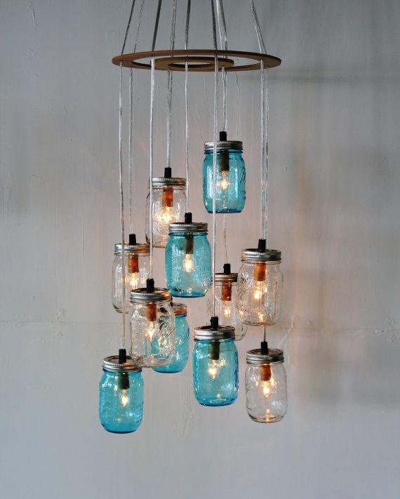 Rustic Industrial Lighting Chandelier Mason Jar Chandelier: Mason Jar Cluster Chandelier