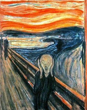 13)Munch, Edvard. O Grito, 1893, óleo sobre tela, têmpera e pastel sobre cartão, 91 x 73 cm,. Galeria Nacional, Oslo. Sem preocupação com regras, mas sim com a ideia.