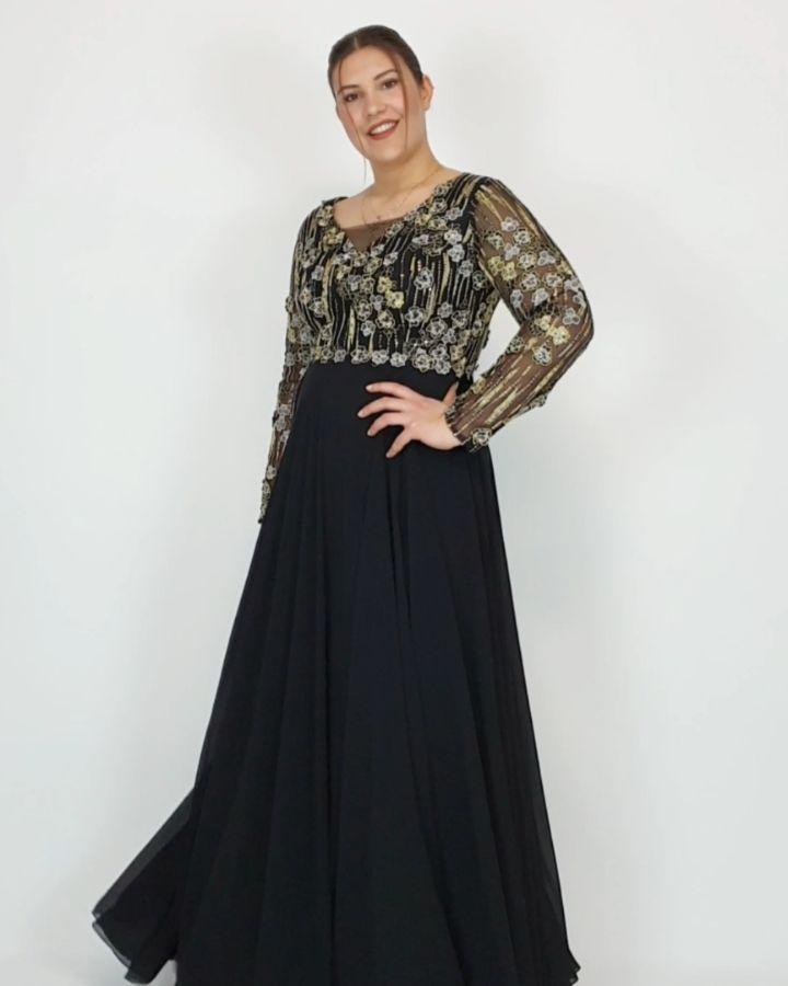 Buyuk Beden 7460 Abiye Ren Long Sleeve Dress Fashion Dresses