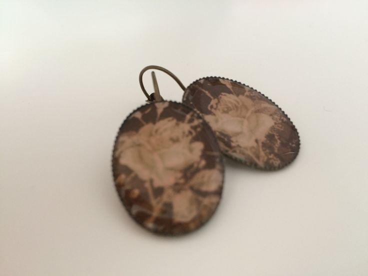 Vintage looking Handmade Brass Earrings with Flowers - Gifts for Her - Valentines Day by MiseEnBoite on Etsy https://www.etsy.com/listing/218442144/vintage-looking-handmade-brass-earrings