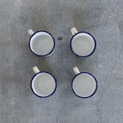Falcon enamel mug, 350ml, blue rim, set of four
