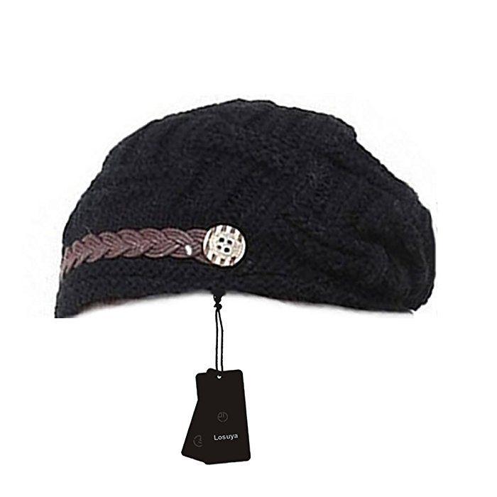Upspirit Fashion Women Knit Snow Hat Winter Snowboarding Beanie Crochet Cap Hats-Black
