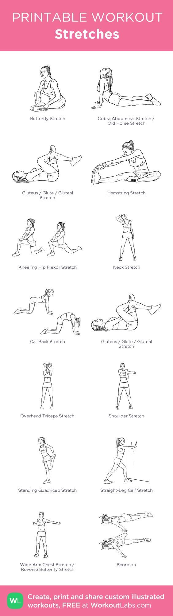 Stretches: my visual workout created at WorkoutLabs.com • Click through to customize and download as a FREE PDF! #customworkout: