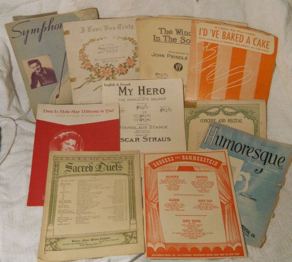 Vintage sheet music for paper supplies or to play by etsybetsycash Humoresce The Chocolate Soldier and Hammerstein Oklahoma South Pacific sheet music paper supplies musical notes, $8.00