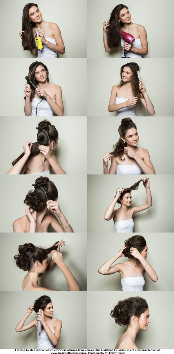 bridal hairstyle step by step glam textured messy bun