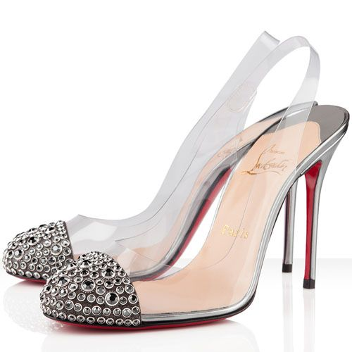 Christian Louboutin Shoes Epoca 100mm Pvc Slingbacks Pewter