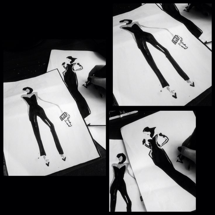 artwork black white blackandehite model sketch girl mode