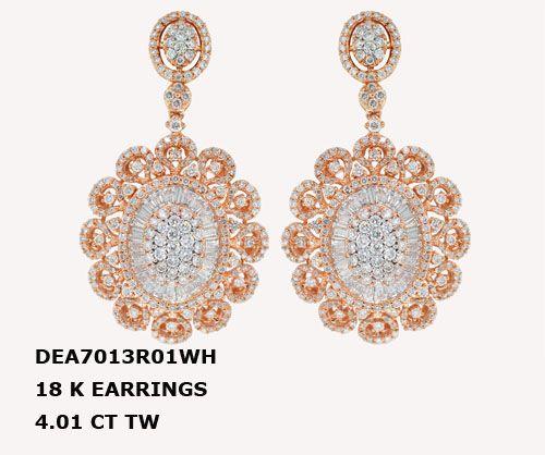 DEA7013R01WH 18 K EARRINGS 4.01 CT TW DIAMONDS