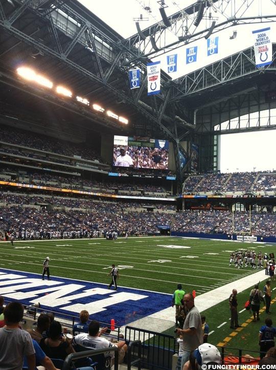 Retractable roof open in Lucas Oil Stadium