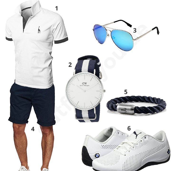 Navy White Men's Outfit with Puma Sneakers (m0411