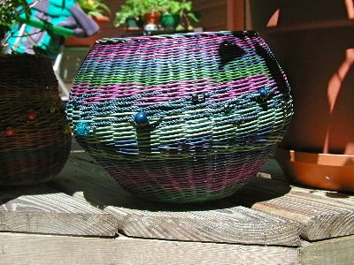 Random blues.  Dyed Round reed and beads.  One of Nancy's baskets