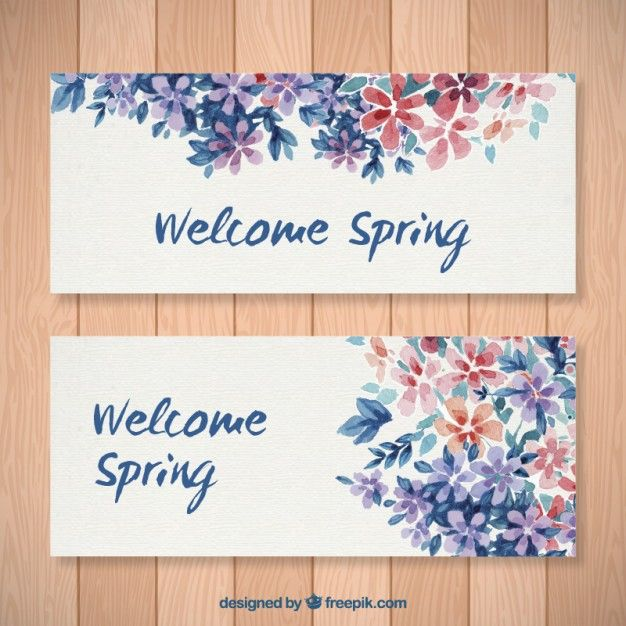 Banners florales de acuarela de bienvenida primavera Vector Gratis