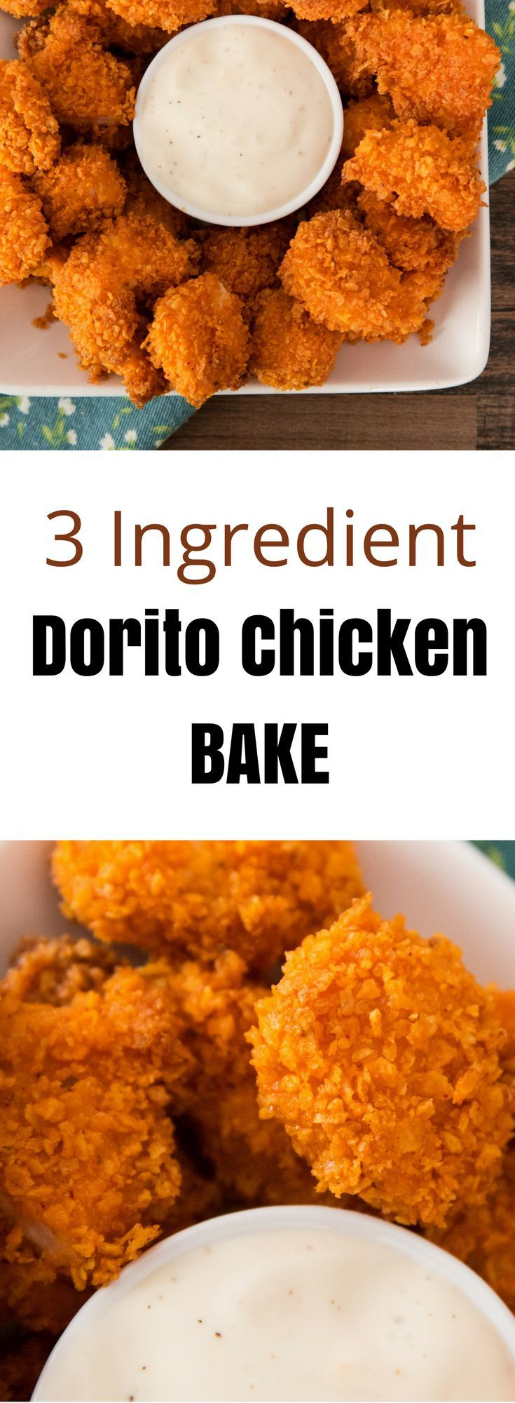 3 Ingredient Popcorn Chicken Bake - so yummy with a Dorito crust. It's an easy snack for the weekend!