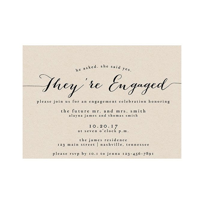 "Brides.com: Festive (and Affordable) Engagement Party Invitations ""Bailey"" printable engagement party invitation, $15 for digital download, How Lovely PaperPhoto: Courtesy of How Lovely Paper"