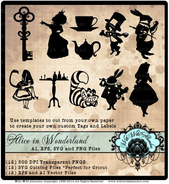 Alice in Wonderland Vectors, Cameo Silhouette, Cricket Explore, svg,ai,eps Cutting File, png  Create gorgeous gift tags, or labels and other