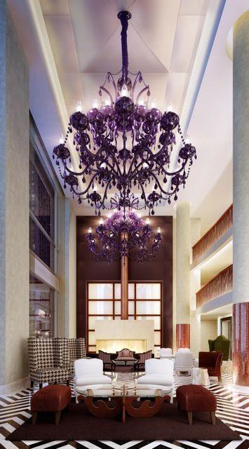Gansevoort Park NYC - Love the HUGE purple chandeliers in the lobby!