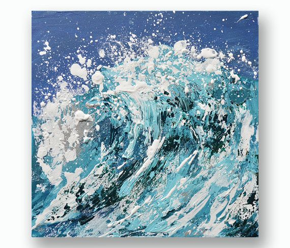 Wave Painting Art Acrylic Original // Siren 10 x by KatieJobling