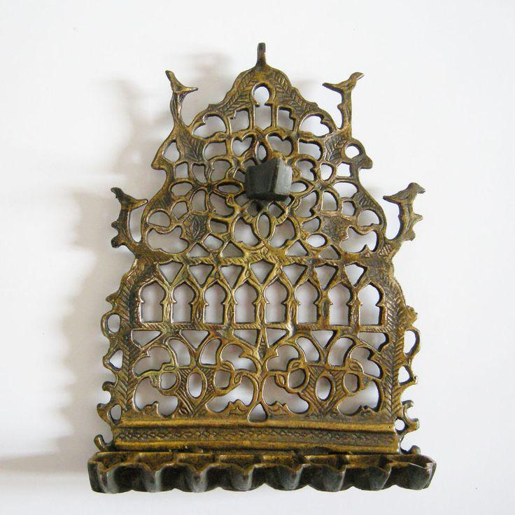 Antique Moroccan Oil Hanukkah Menorah Jewish Candle holder Bronze Handmade