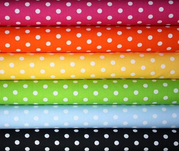 Robert Kaufman Pimatex Basics Polka Dot Fabric-1/2 Yard Bundle, 6 total from fabricshoppe on Etsy $27.00 #etsy, #fabric