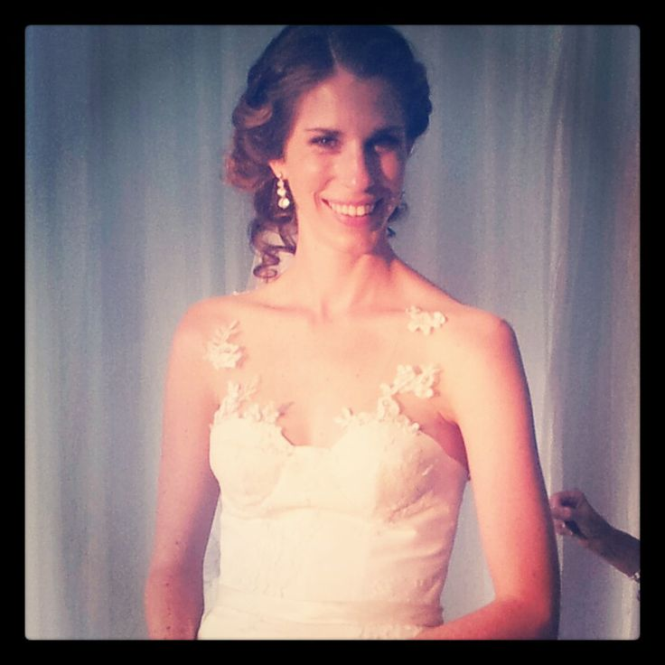 Beautiful Gabi - wearing her Dimity bridal gown of French Chantilly lace & chiffon. #Dimity #EcoBride