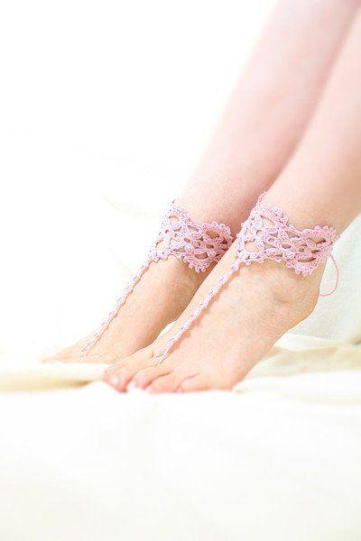 Cavigliere - Sandali a piedi nudi Rosa Polveroso - un prodotto unico di SusyDeMarchiJewelry su DaWanda