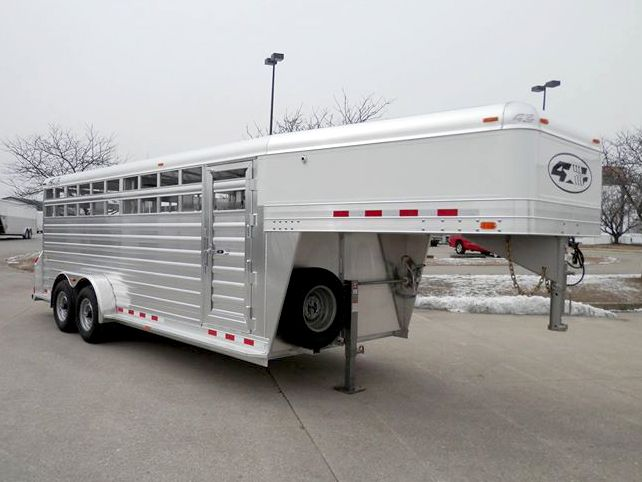 """New 2016 7' x 20' x 6'6"""" 4-Star Stock Trailer w/ 10 Ply Radial Tires and Escape Door - Rob King (765) 366-5866/(765) 323-3005"""