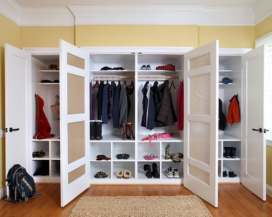 Shoe storage! Can this be done with a pre-fab furniture cubbie shelf unit? Could you cut apart the shelves and nail to wall?