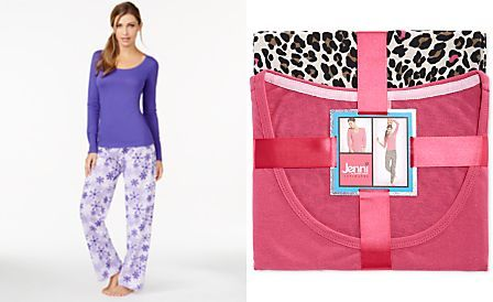 Jenni by Jennifer Moore Knit Top and Pajama Pants Set