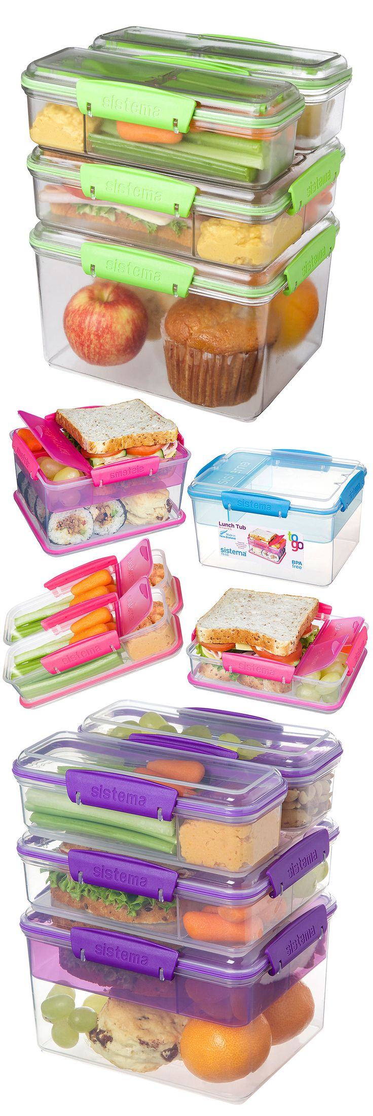 Lunch Box 2 Go Stacking Container Set ❤︎ Separate Compartments to keep food fresh & from getting soggy