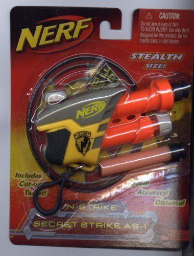 Nerf N-Strike Secret Strike AS-1 by Hasbro. $6.50. Compact air-powered Nerf N-Strike Secret Target Strike AS-1 dart blaster can hit targets up to 30 feet away! Blaster comes with belt clip, cut-out target and 2 foam darts. Finally, a toy Nerf gun with some subtlety! The SECRET STRIKE AS-1 blaster offers a powerful blast in a stealth size! This compact, air-powered blaster sends foam darts sailing at your target - up to 30 feet away! And the convenient belt-clip means ...