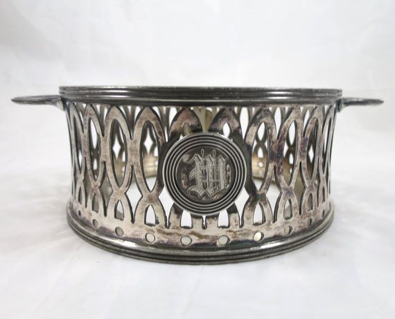 Silver Plate Bowl Holder M Monogram Victorian Silver Plate Basket Hostess Entertaining Buffet Chafing Dish Casserole Holder Entertaining