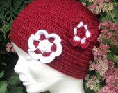 """BONNET """" les jolies fleurs """" : Chapeau, bonnet par de-laine-en-aiguilles sur ALittleMarket"""