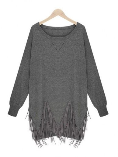 Wholesale Scoop neckline pure color tassels causal sweatshirt MK-9377 - Lovely Fashion