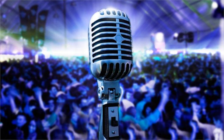 microphone retro concert stage audience room music light glow positive good idea 4' Size Home Decoration Canvas Poster Print