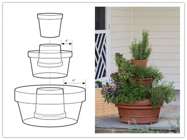 This is how to make a vertical garden design for planting a tower of herbs at home. It is a great space utilization idea. Or if you don't have time to build it yourself, just get this ready-to-use stack-a-pot we found out earlier.