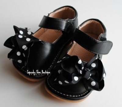 Black Mary Jane with Interchangeable Bows Squeaky Shoe-Black Mary Jane  Interchangeable Squeaky Sandal, Posh Squeakers by Squeaky Shoe Boutique, Sparkle and glitter squeaky shoe, Black sparkle squeaker shoes,  Our signature Squeaky Shoes are sure to dazzle your childs feet! little blue lamb squeaky shoes, squeakers, my shoes squeak, Squeaky Shoes are perfect way to keep track of a wandering child or encourage a new toddler learning to walk.
