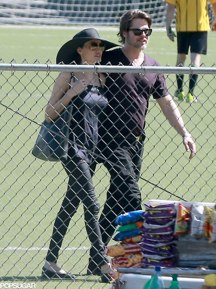 Brad Pitt and Angelina Jolie Kissing at a Soccer Game | POPSUGAR Celebrity