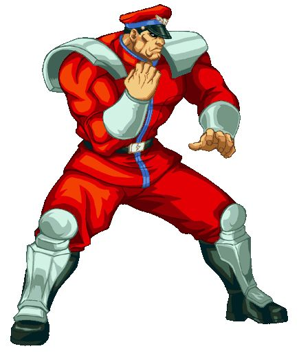 M. Bison: Red hat, red outfit with blue detailing (military), black belt, white wristbands, white shoulder detail optional