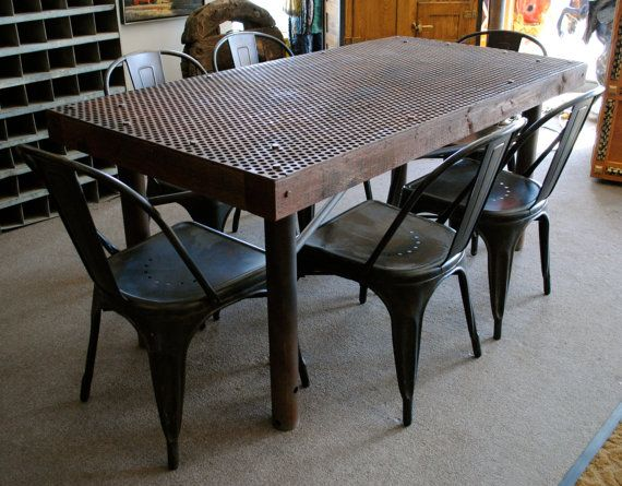 Vintage Industrial Metal and Wood Dining Table with 6 Tolix Style