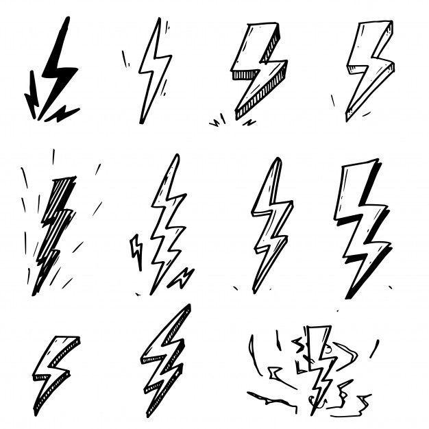 satz gezeichnete gekritzel elektrische blitzsymbolskizze des vektors hand gezeichnet blitzsymbolski lettrage graffiti tatouages nuages tatouage eclair haus vektor geweih