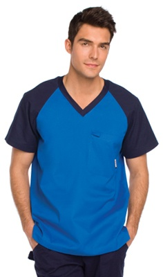 This Koi sporty and stylish top for men is more than just the same old scrub top. This V-neck top features contrast raglan sleeves, a chest pocket, and utility loop.        Men's v-neck      Contrast raglan sleeves      Chest pocket      Utility loop      55% cotton, 45% polyester  $29.99