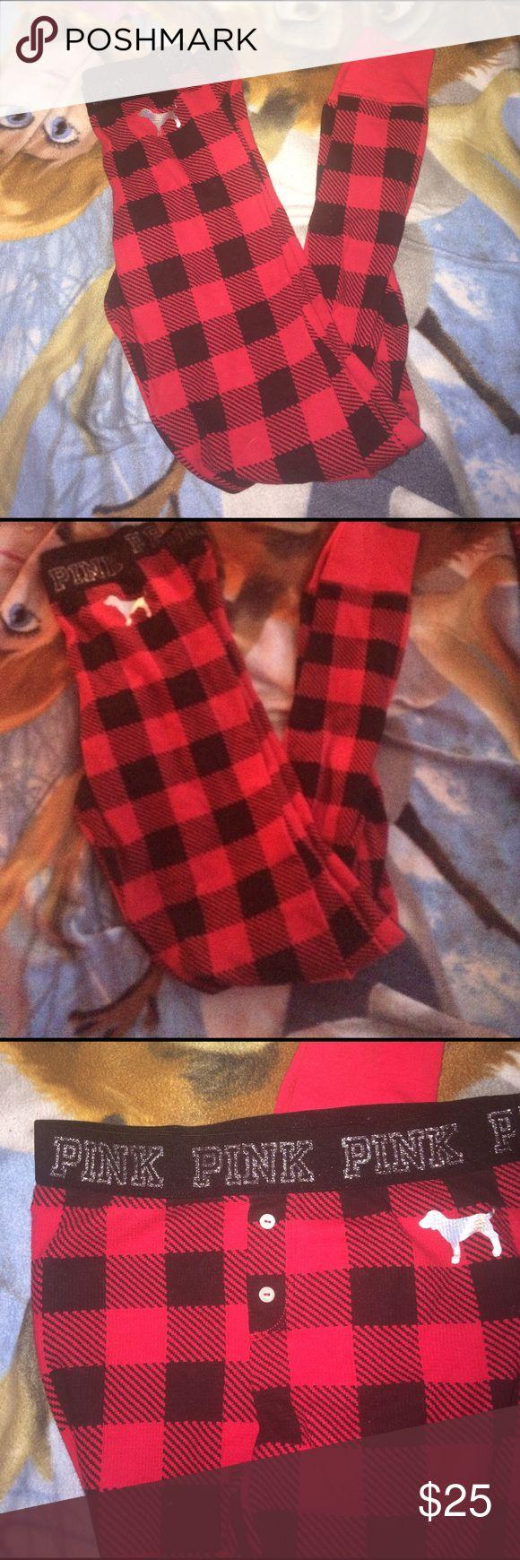 VS PINK Plaid Sleep Leggings Victoria's Secret PINK red plaid sleep in leggings for bed . Size small NWOT PINK Victoria's Secret Intimates & Sleepwear Pajamas