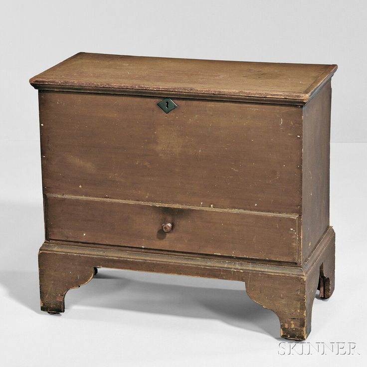 Shaker Brown Painted Pine One Draw Chest, Canterbury, New Hampshire, C
