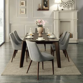 Sasha Curved Grey Linen Upholstered 7 Piece Angled Leg Dining Set