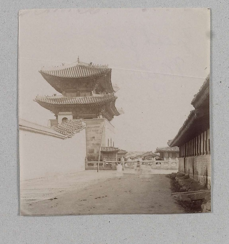 Kwanghwa-mun, the front gate of Kyongbok-gung, Seoul, seen from the south-western side, outside the palace. taken by Isabella Bird Bishop in the 1890s.